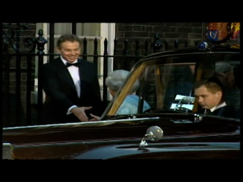 Queen Elizabeth II Prince Philip Duke of Edinburgh arrive at 10 Downing Street Greeted by Tony Blair Cherie Blair all enter No10
