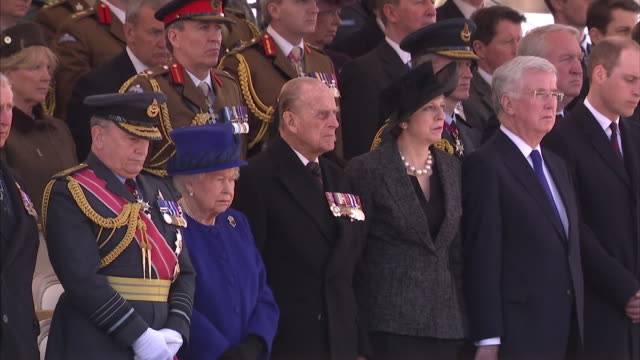 queen elizabeth ii prince philip theresa may prince william nicola sturgeon and tony blair attending a ceremony to mark the official unveiling of a... - memorial event stock videos and b-roll footage