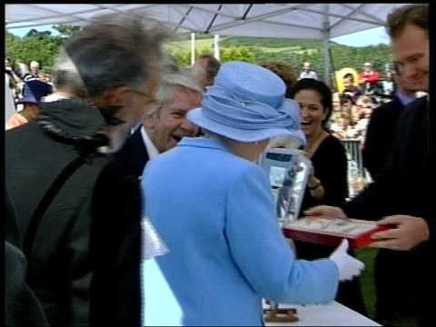 queen elizabeth ii & prince philip visit isle of man arts and crafts fair; **music playing intermittently sot** queen along & shakes hands with sir... - isle of man stock videos & royalty-free footage