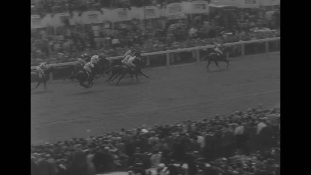 queen elizabeth ii standing between two men talking to them / four shots of racehorses being led around paddock / jockey mounting horse / people... - looking at camera stock videos & royalty-free footage
