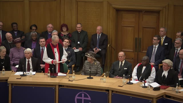 queen elizabeth ii the duke of edinburgh attend the tenth general synod inauguration shows interior shot the most reverend justin welby making speech... - カンタベリー大主教点の映像素材/bロール