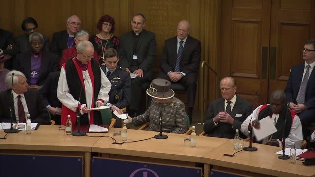 queen elizabeth ii & the duke of edinburgh attend the tenth general synod inauguration. shows interior shots the most reverend justin welby making... - synod stock videos & royalty-free footage