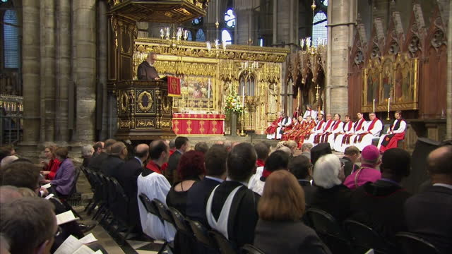 queen elizabeth ii & the duke of edinburgh attend the tenth general synod inauguration. shows interior shots preacher to the papal household raniero... - synod stock videos & royalty-free footage