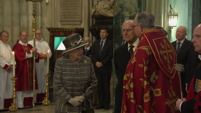 queen elizabeth ii & the duke of edinburgh attend the tenth general synod inauguration. shows interior shots the queen & the duke of edinburgh... - archbishop of canterbury stock videos & royalty-free footage