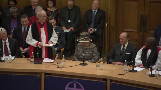 queen elizabeth ii the duke of edinburgh attend the tenth general synod inauguration shows interior shots the most reverend justin welby making... - カンタベリー大主教点の映像素材/bロール