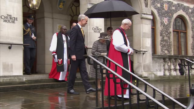 queen elizabeth ii & the duke of edinburgh attend the tenth general synod inauguration. shows exterior shot queen elizabeth ii walking down steps to... - archbishop of canterbury stock videos & royalty-free footage