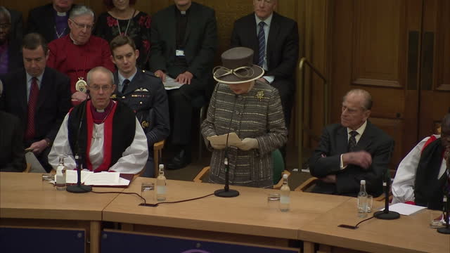 queen elizabeth ii & the duke of edinburgh attend the tenth general synod inauguration. shows interior shot queen elizabeth addressing the general... - synod stock videos & royalty-free footage