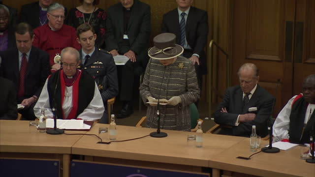 queen elizabeth ii & the duke of edinburgh attend the tenth general synod inauguration. shows interior shot queen elizabeth ii announcing the... - synod stock videos & royalty-free footage