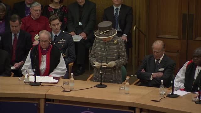 queen elizabeth ii the duke of edinburgh attend the tenth general synod inauguration shows interior shot queen elizabeth ii announcing the... - カンタベリー大主教点の映像素材/bロール