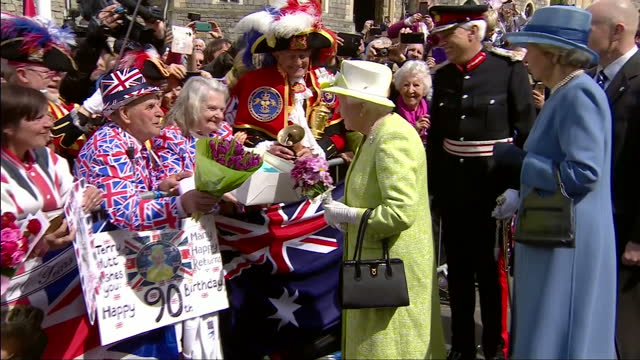 queen elizabeth ii today celebrated her 90th birthday a montage of the queen's walkabout of windsor greeting fans and cutting into her birthday cake... - 90th birthday stock videos and b-roll footage
