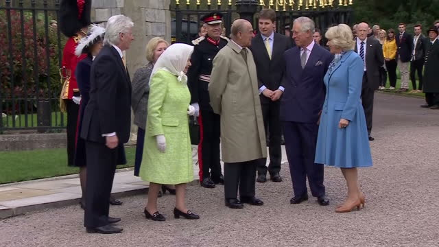 queen elizabeth ii today celebrated her 90th birthday charles prince of wales and camilla duchess of cornwall arrived at windsor castle ahead of the... - 90th birthday stock videos and b-roll footage
