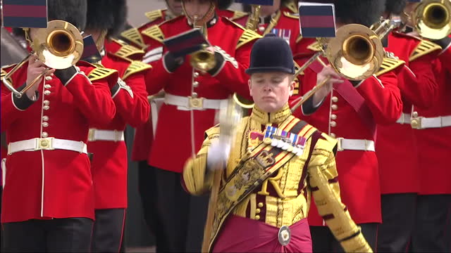 queen elizabeth ii today celebrated her 90th birthday. crowds lined the streets to catch a glimpse of the queen. shows military band marching along... - 90th birthday stock videos & royalty-free footage