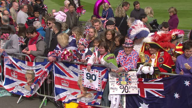 queen elizabeth ii today celebrated her 90th birthday royal fans and supporters lined the streets of windsor to catch a glimpse of the queen and wish... - 90th birthday stock videos and b-roll footage