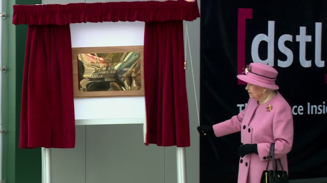queen elizabeth ii unveiling a plaque at porton down - decor stock videos & royalty-free footage