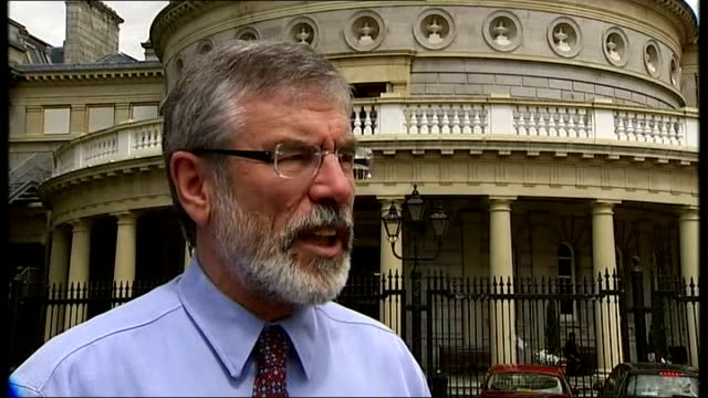 queen elizabeth ii visit day 3 dublin reporter to camera gerry adams interview sot old post office building bullet marks on exterior of building vox... - 1916 stock videos & royalty-free footage