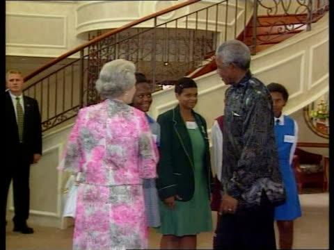 Queen Elizabeth II visit SOUTH AFRICA / ROYALTY Queen Elizabeth II visit POOL SOUTH AFRICA Pretoria INT Queen Elizabeth II PAN to former South...
