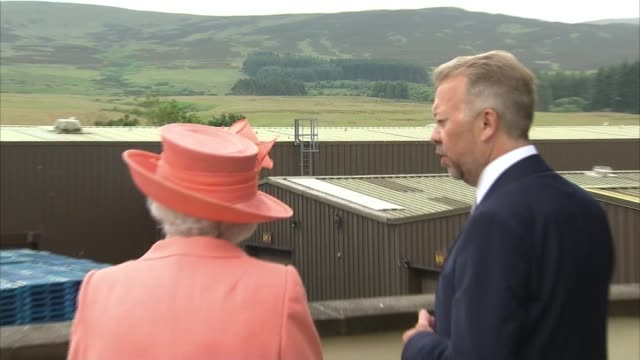 queen elizabeth ii visit to highland spring to open a new factory scotland perthshire blackforth ext car along / queen elizabeth ii from car and... - perthshire stock videos & royalty-free footage