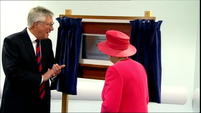 queen elizabeth ii visits aberdeen; unidentified man speech as queen looks on / queen unveiling plaque / queen signing guestbook / queen being... - tartan stock videos & royalty-free footage