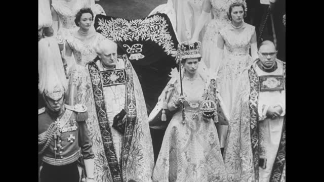 queen elizabeth ii, wearing imperial crown and carrying the orb with cross and scepter with cross, walks down aisle at westminster abbey followed by... - sphere stock videos & royalty-free footage