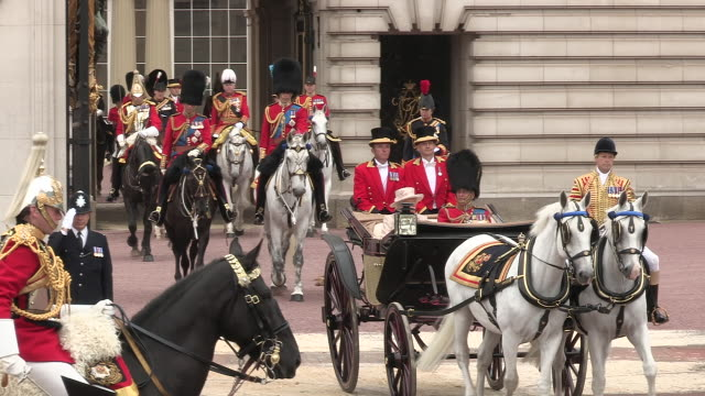 Queen Elizabeth ll and Duke of Edinburgh leave Buckingham Palace in an open coach for the Trooping of The Colour Parade on the Queen's Official...