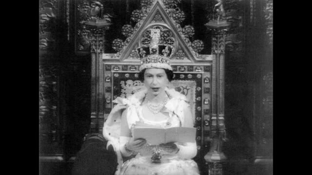 / Queen Elizabeth on throne in House of Lords giving speech regarding relations with the United States / discusses United Nations Geneva Conference...