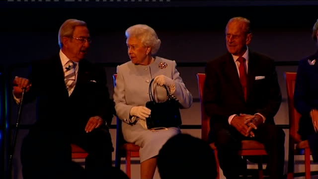 Queen Elizabeth opens Round Square International Conference **Classical music heard over following** INT Queen Elizabeth Prince Philip and Prince...