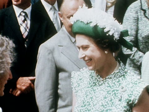 queen elizabeth smiles at the crowds during her walkabout in auckland 1977 - royal tour stock videos & royalty-free footage