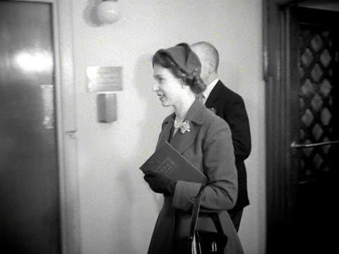 Queen Elizabeth the Duke of Edinburgh and Sir Alexander Cadogan enter the BBC's Maida Vale studios 1953