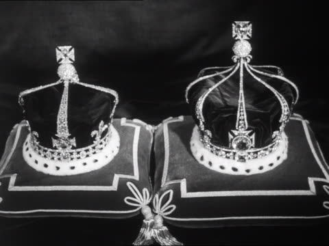 queen elizabeth, the queen mother's crown and queen mary's crown rest on velvet cushions. - crown headwear stock videos & royalty-free footage
