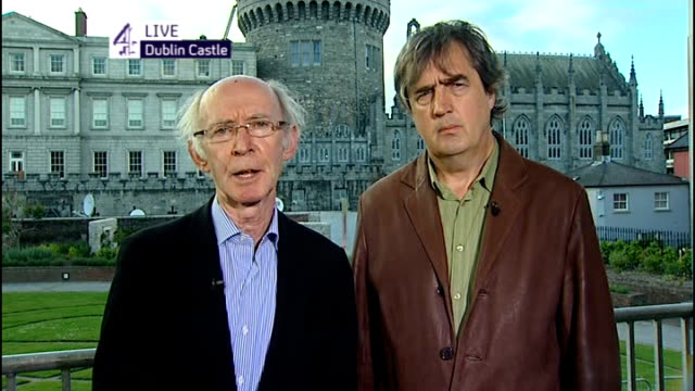 queen elizabeth visit day 1 live england london gir int jude collins and sebastian barry 2 way interview from dublin sot - dublin republic of ireland stock videos & royalty-free footage