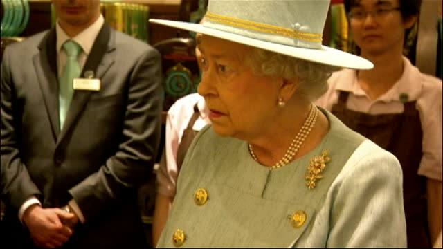 queen elizabeth visits fortnum and mason england london piccadilly fortnum mason throughout** queen elizabeth camilla duchess of cornwall and... - queen elizabeth hall stock videos and b-roll footage