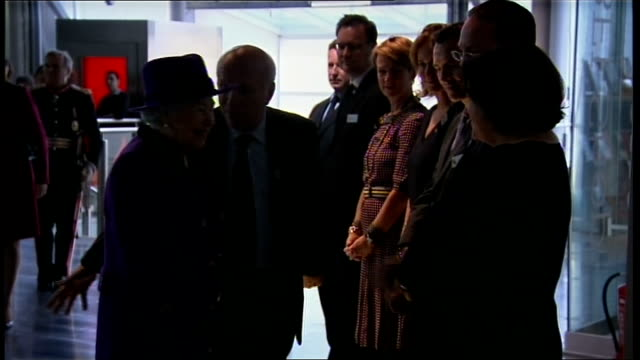 queen elizabeth visits jubilee gardens and bfi southbank bfi photography** queen chatting to greg dyke and meeting staff queen chatting to people... - greg dyke stock videos & royalty-free footage