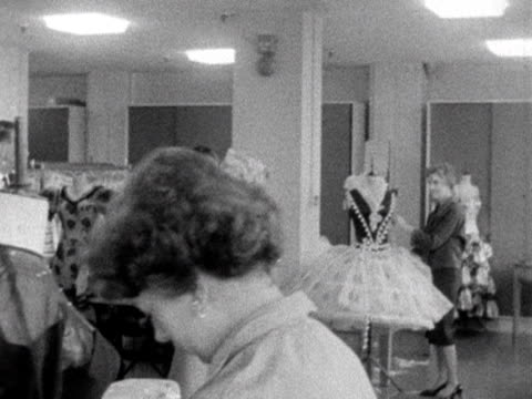 queen elizabeth walks around the costume department during her tour of bbc television centre 1961 - design professional stock videos & royalty-free footage