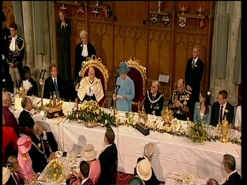 Queen gives Golden Jubilee speech at official dinner in Guildhall with Prince Philip and Prime Minister Tony Blair London 04 Jun 02