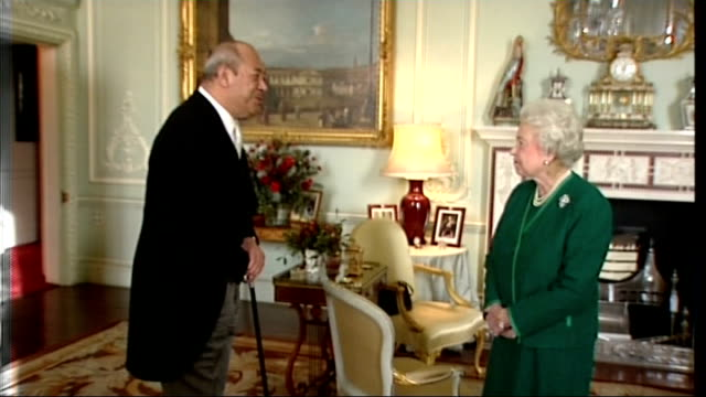 london buckingham palace int queen elizabeth ii who has a large bruise on the left side of her neck greeting king george tupou v the king of tonga... - v neck stock videos & royalty-free footage