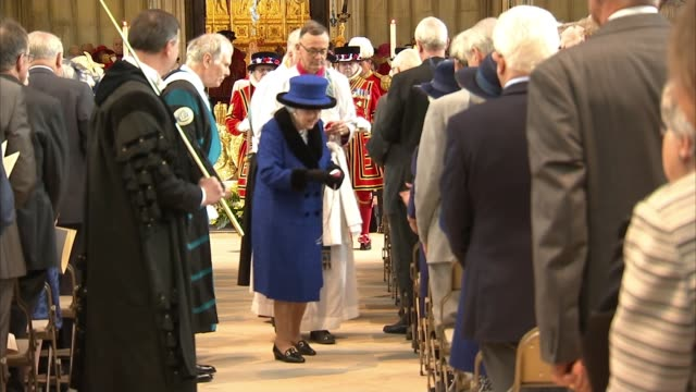 queen hands out maundy money as pope washes feet of prisoners england berkshire windsor st george's chapel int queen elizabeth ii handing out maundy... - st. george's chapel stock videos and b-roll footage