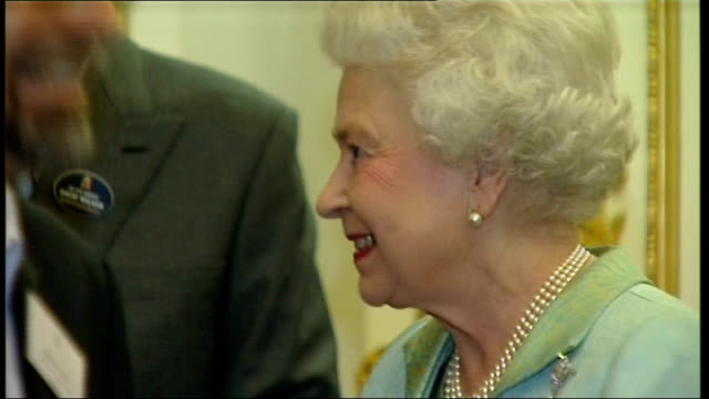 Queen holds drinks reception ahead of visit by South African President Guests being introduced to the Queen and Prince Philip including Peter Hain MP...