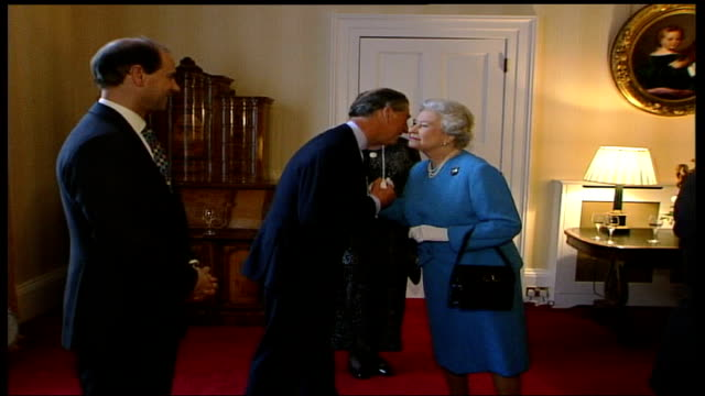 queen hosts association of royal yachtsmen reception; england: london: st james's palace: int people in room chatting, sir angus ogilvy chatting /... - princess stock videos & royalty-free footage