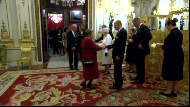 Queen hosts reception at Buckingham Palace for organisers of Diamond Jubilee celebrations More of Queen and Prince Philip greeting guests / general...