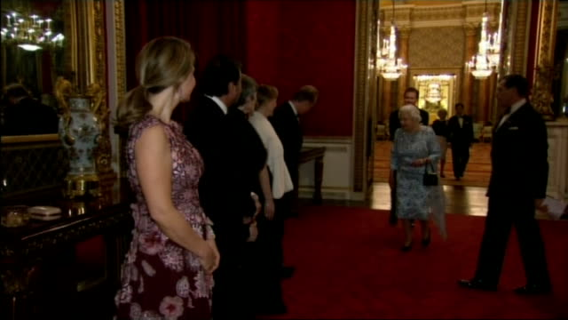 queen hosts reception for the london symphony orchestra england london buckingham palace photography** people in line up / queen elizabeth ii... - london symphony orchestra stock videos & royalty-free footage