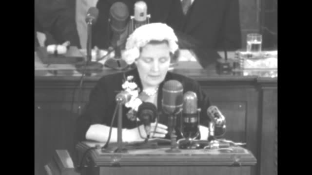 queen juliana standing at podium on rostrum in house chamber speaking about partnership with the us free and democratic europe / note audio not... - joint session of congress stock videos and b-roll footage