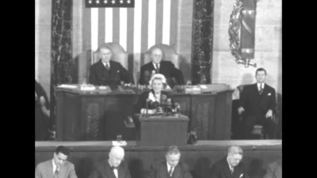 queen juliana standing at podium on rostrum in house of representatives chamber at the us capitol members of congress applauding as she appears for... - sam rayburn video stock e b–roll