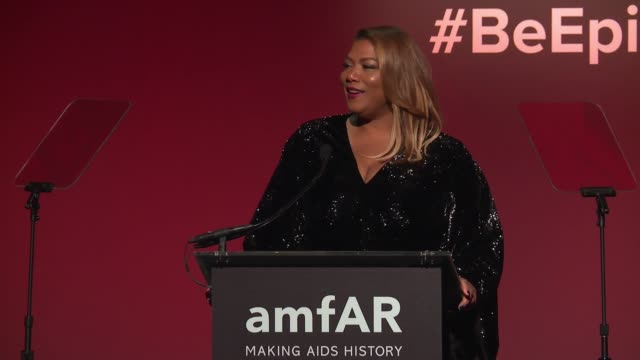 SPEECH Queen Latifah and Lee Daniels at 20th Annual amfAR Gala New York at Cipriani Wall Street on February 07 2018 in New York City