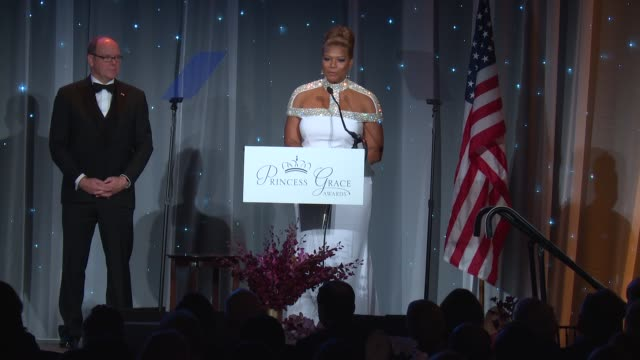 speech queen latifah at the 2016 princess grace awards gala at cipriani 25 broadway on october 24 2016 in new york city - cipriani manhattan stock videos & royalty-free footage