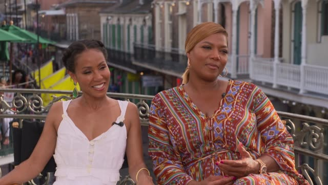 queen latifah & jada pinkett smith on people enjoying the movie, their characters and how they relate to them, throwback fashion, being in new... - jada pinkett smith stock videos & royalty-free footage