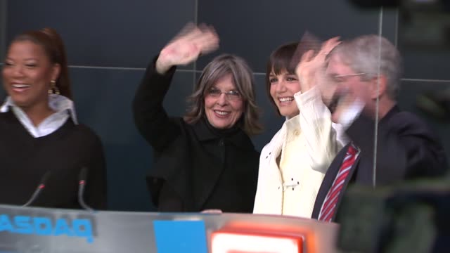 Queen Latifah Katie Holmes and Diane Keaton at the Nasdaq opening bell ringing ceremony with the stars of 'Mad Money' at Nasdaq in New York New York...