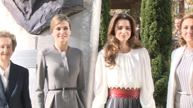 queen letizia and queen rania attend molecular biology center 'severo ochoa' - queen letizia of spain stock videos and b-roll footage