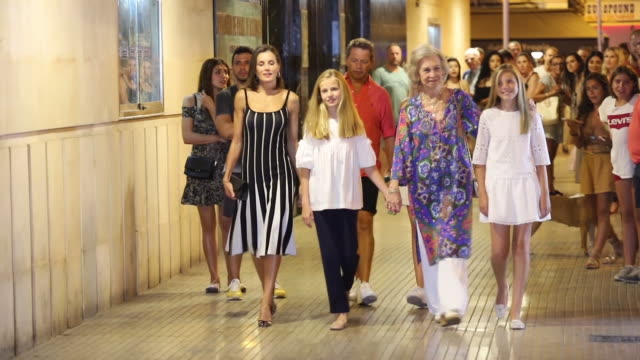 queen letizia and queen sofia of spain attend swan lake show with the infants leonor and sofia in palma of mallorca - swan lake stock videos & royalty-free footage