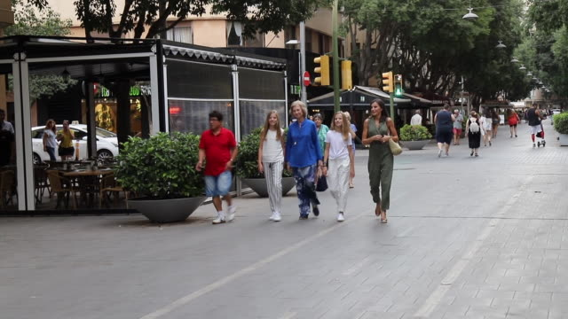 queen letizia and queen sofia of spain walking with the infants leonor and sofia in palma of mallorca - queen letizia of spain stock videos and b-roll footage