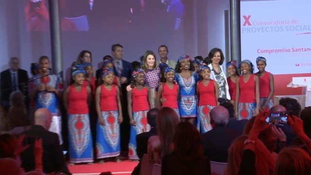 queen letizia of spain attends 10th 'proyectos sociales banco de santander' awards at las alhajas palace - queen letizia of spain stock videos and b-roll footage